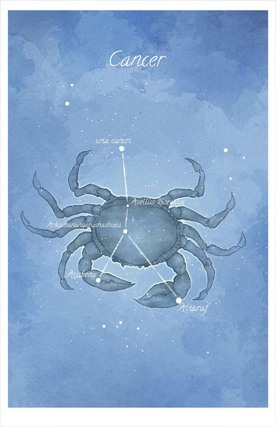 Astronomy art, Cancer, the Crab constellation, luminescent stars hand-embellished print - Pinned by The Mystic's Emporium on Etsy