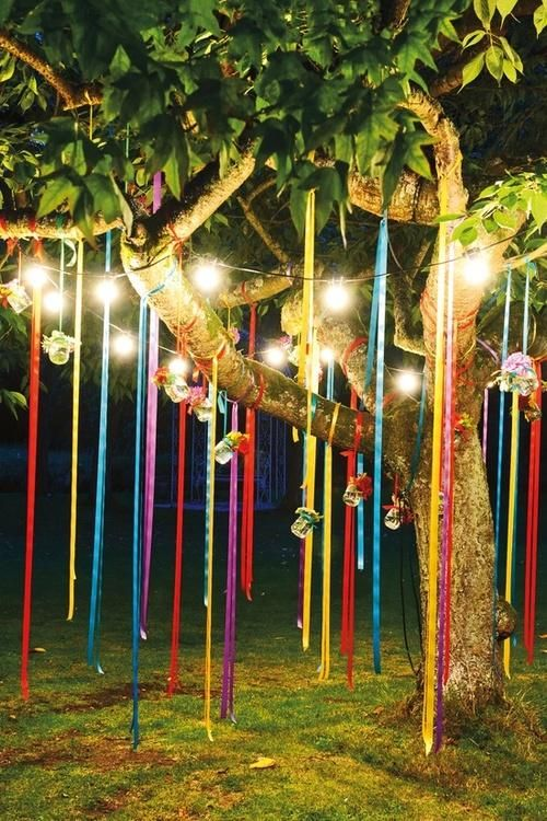 Patio lights with colored tissue ribbon.