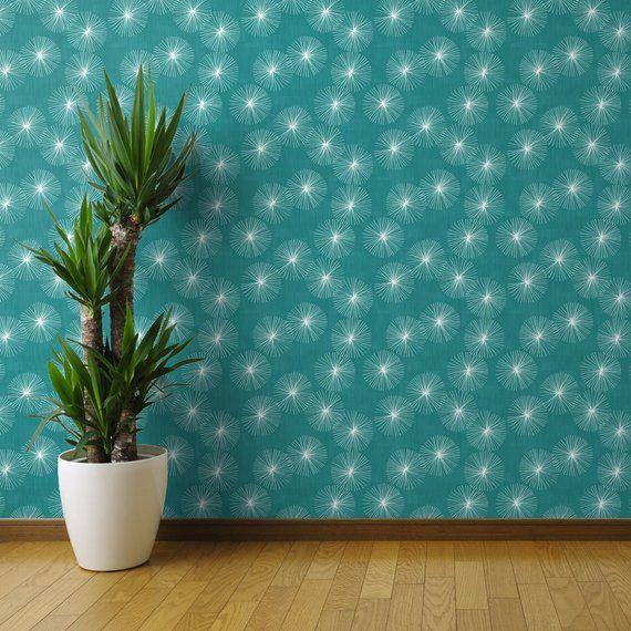 Mid Century Modern Wallpaper Dandelions Teal By Friztin Etsy Mid Century Modern Wallpaper Wallpaper Panels Modern Wallpaper