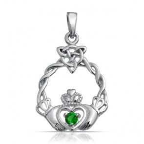 Sterling Silver Celtic Triquetra Knot Emerald Color Heart Claddagh Pendant