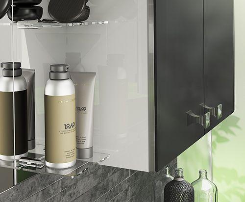 Novara - Glass shelves on a mirrored backboard create a spacious feel in your bathroom.