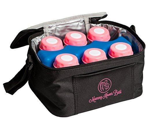 Breastmilk Cooler Bag Set For Nursing Mothers - Includes Baby Bottle Cooler Tote, (6) 5 oz Breast Milk Bottles, (6) Solid Lids, & Contoured Ice Pack for Insulated Storage