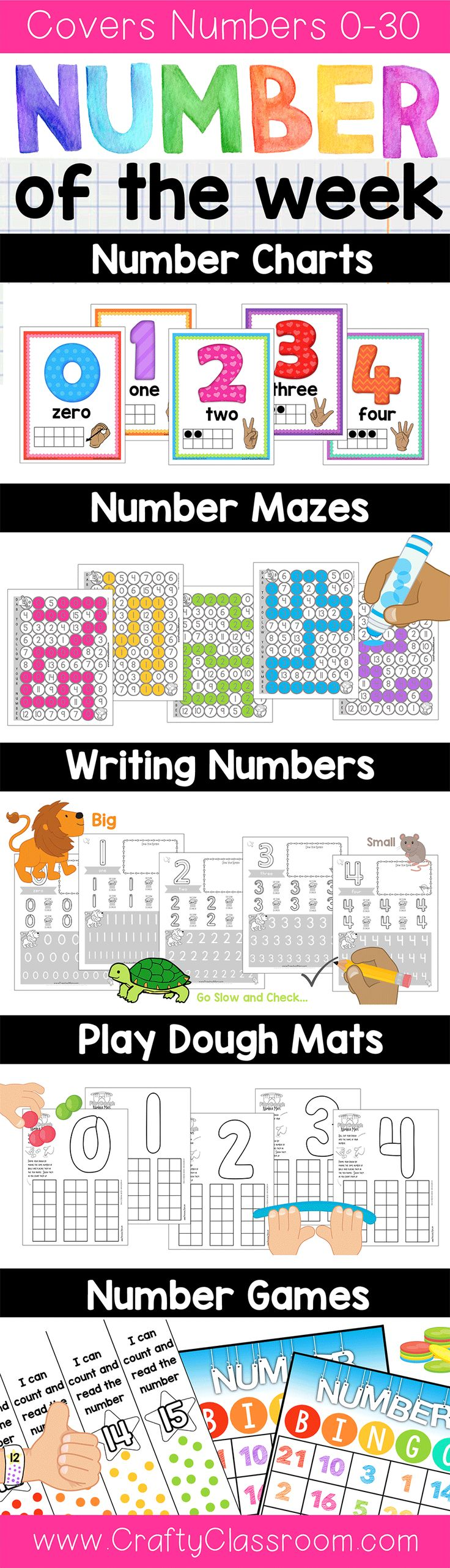 Number of the Week Preschool Curriculum.  Covers numbers 0-30 and coordinates perfectly with our Letter of the Week and Shape of the Week Program