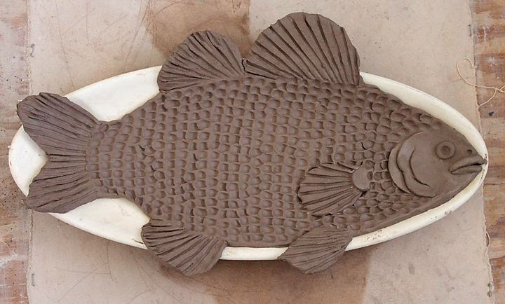 Pottery and Paint: Oval fish platter (Bass) in progress