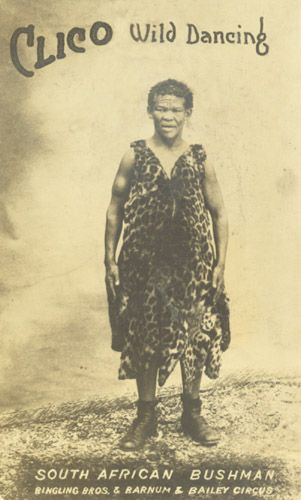 Clico (1857-1940) was actually Franz Taabosh, a Bushman native of what is now South Africa. Fond of, and skilled at, his native Khoisan folk dances, the four foot tall Taabosh was first presented to white audiences in his native country by a man named Captain Hepston, who became his manager. Success at home inspired them to tour in England and France in 1913. From here, they jumped to the U.S.