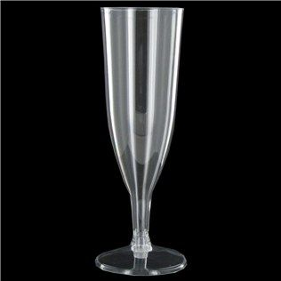 """Add a touch of elegance to your parties with Clear Party Flutes. These flutes are perfect for anniversaries, wedding receptions, Christmas and New Year parties, and more! They require minimal assembly, and they can be tossed when the party ends. Drink up!        Dimensions:      Height: 6 1/2""""          Each package contains 50 flutes (flutes come in two pieces; the base snaps onto the flute)."""