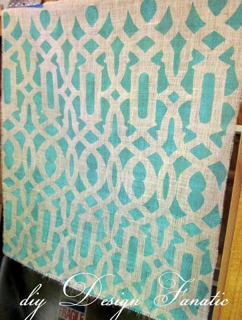 Stenciled Burlap - add carpet padding on the back and you have a rug or runner! I love this idea!!