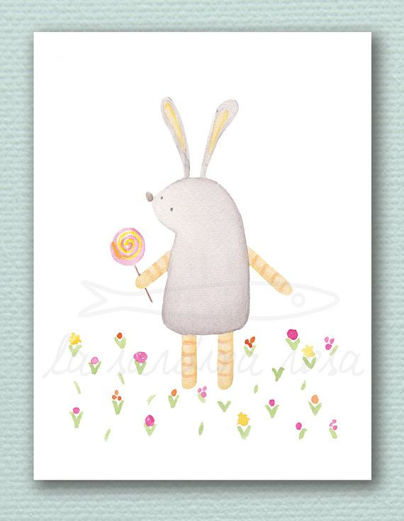 Rabbit and lollipop watercolour Play room illustration Nursery wall decor  by LaSardinaRosa on Etsy