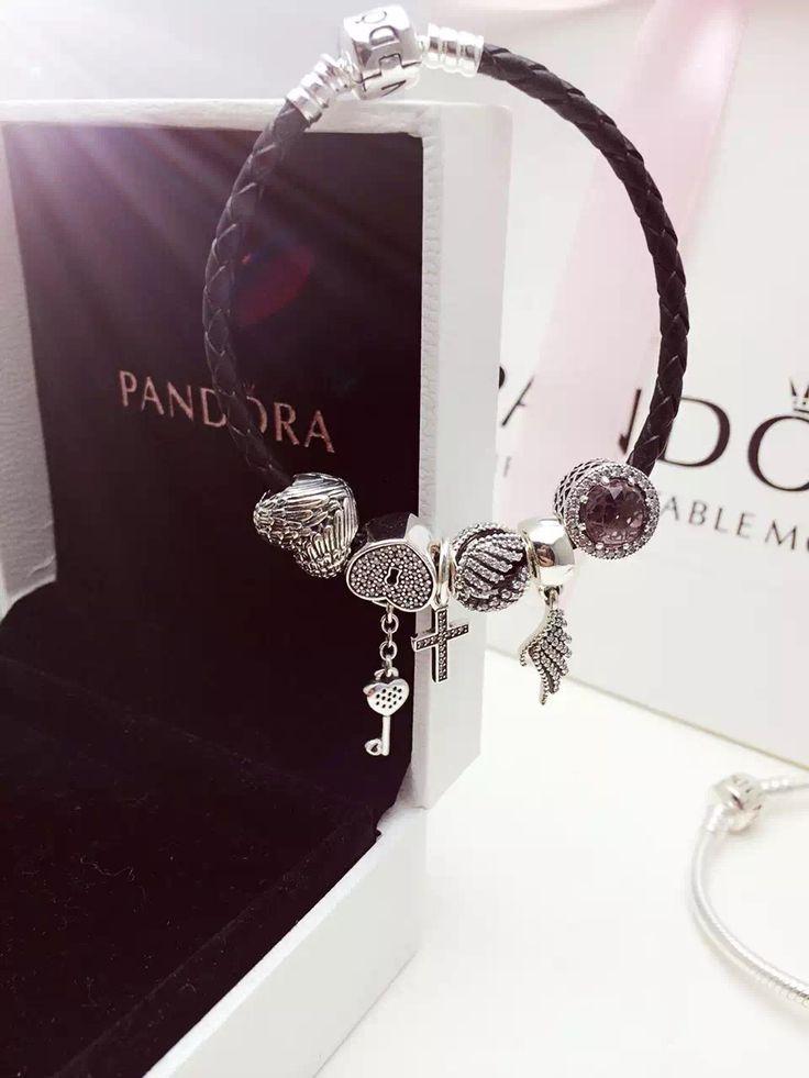 50% OFF!!! $179 Pandora Leather Charm Bracelet Pink Black. Hot Sale!!! SKU: CB01729 - PANDORA Bracelet Ideas
