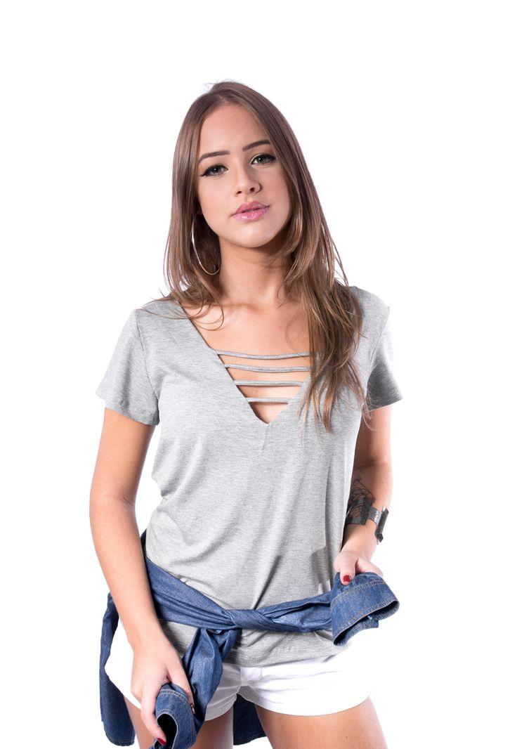 Blusa de Tiras Cinza #modafeminina