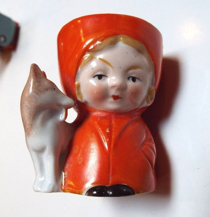 Rare Antique Porcelain Egg Cup - Little Red Riding Hood and Wolf