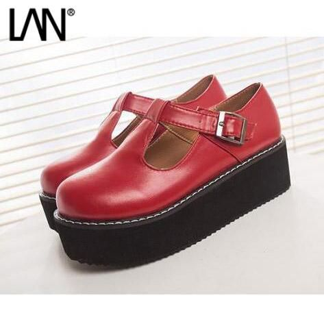 [Visit to Buy] Fashion 2016 New Women Creepers Pu Women Flats Platform Mary Jane Ankle Strap Casual Ladies Loafers Shoes #Advertisement
