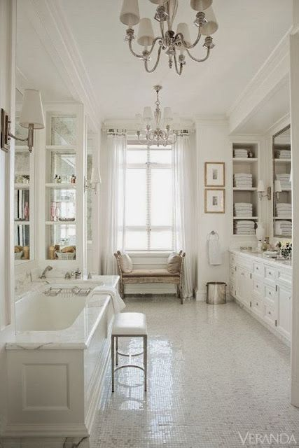 Image Gallery Website luxurious master bathroom with sparkling tile floor marble tub u crystal chandelier I don ut like the all white bland color but I do like the simplicity