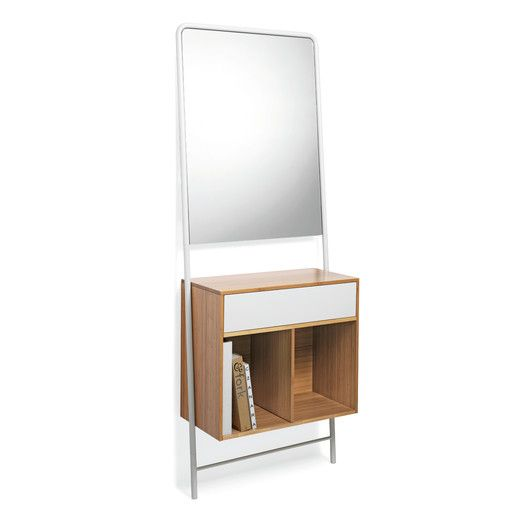 """Posa Console 29.5""""W X 14.2""""D X 74.8""""H $1563.  Metal drawer front white or dark grey."""