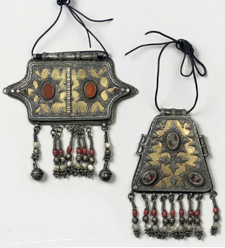 Turkmenistan | Two Yorud silver gilt and carnelian pendants | 19th century | 250€ ~ sold (Apr '10)