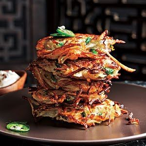 Cilantro-Jalapeno Latkes with Chipotle Sour Cream