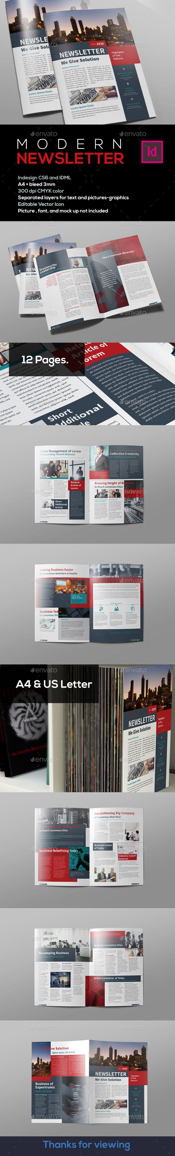 #Modern #Newsletter - Newsletters Print #Templates Download here: https://graphicriver.net/item/modern-newsletter/19207857?ref=alena994