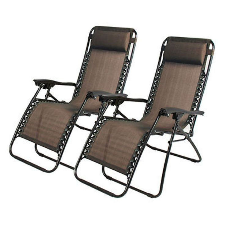 Zero Gravity Chairs Case Of 2 Dark Brown Lounge Patio Chairs Outdoor Yard Beach New. Textilene fabric material 520g/㎡. Foldable for easy transportation. Adjustable reclining lounge chair. Comes with a comfortable pillow. Ideal for camping,patio,pool,beach and other outdoor activities.