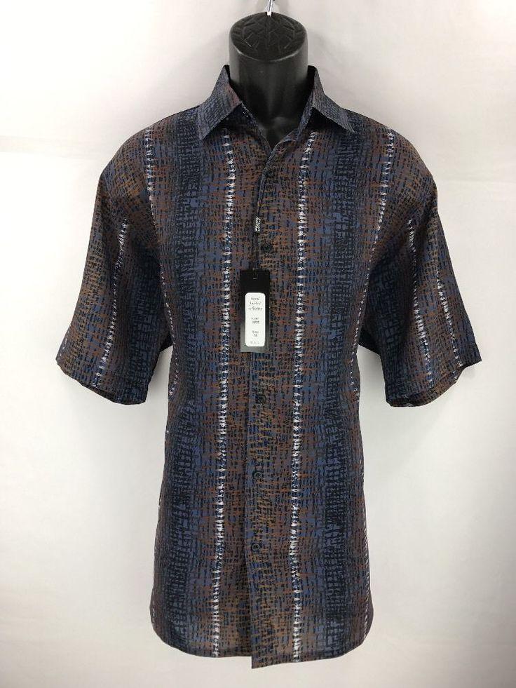 Bassiri Men's Short Sleeve Shirt Black Blue Rust & White Sizes M - 4XL #3895 #Bassiri #ButtonFront