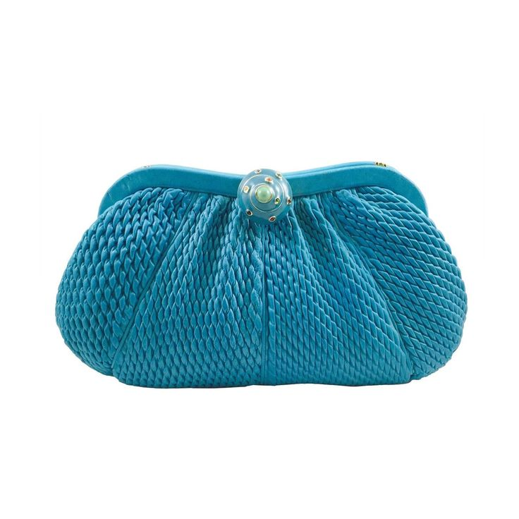 Judith Leiber Bejeweled Turquoise Shirred Leather Evening Bag  | From a collection of rare vintage evening bags and minaudi�res at https://www.1stdibs.com/fashion/handbags-purses-bags/evening-bags-minaudieres/