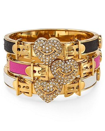Juicy Couture Pavé Locked Heart Leather Bangle