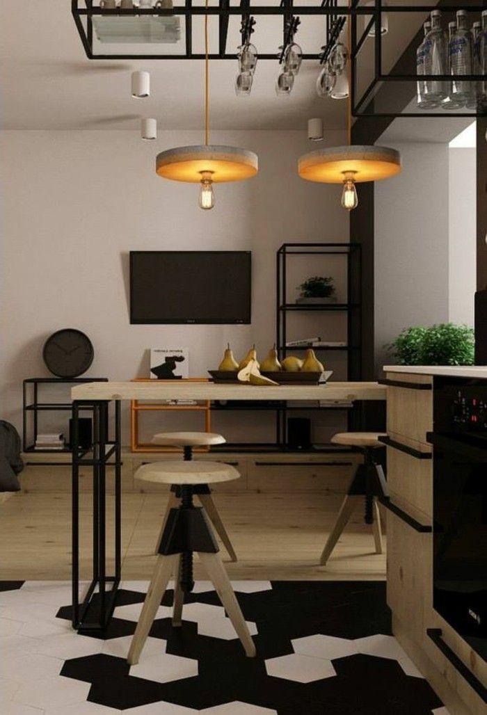 carreaux sol, cuisine style industriel carrealage de sol noir et blanc