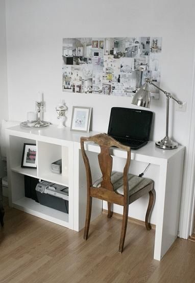 Ikea - small expedit plus hacked expedit as desk via Stylizimo