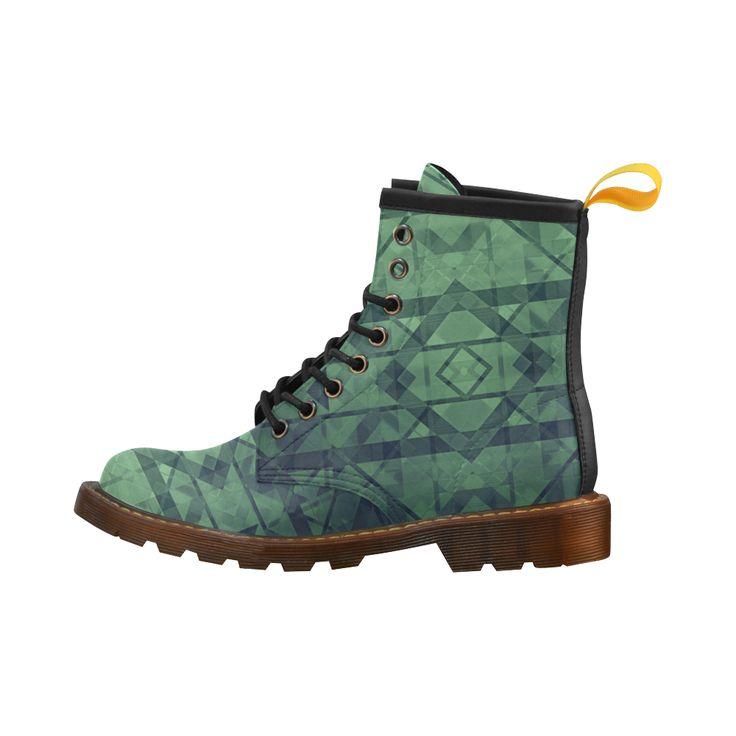 Sci-Fi Green Monster Geometric design Modern style Leather Martin Boots For Women Model 402H. #martin #boots #coolboots #leatherboots #womensshoes #womensboots #artsadd #scardesign #buyshoes #style #colorful #shoes