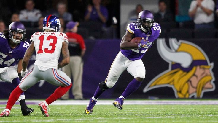 Monday Night Football: Giants vs. Vikings:   October 3, 2016  -  24 - 10, Vikings  -    Minnesota Vikings cornerback Xavier Rhodes, right, runs from New York Giants wide receiver Odell Beckham after intercepting a pass during the second half of an NFL game Monday, Oct. 3, 2016, in Minneapolis.