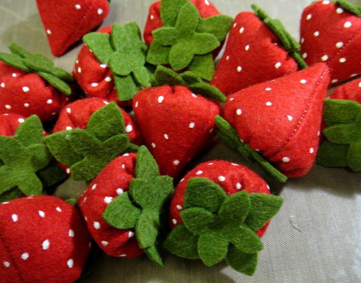 Felt Food Strawberries by lilliannamarie on Etsy, $10.00