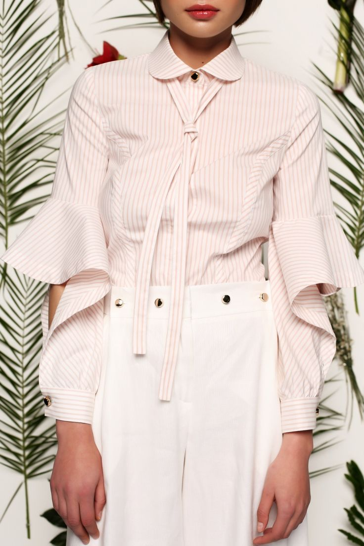 Блуза в розовую полоску с рукавами