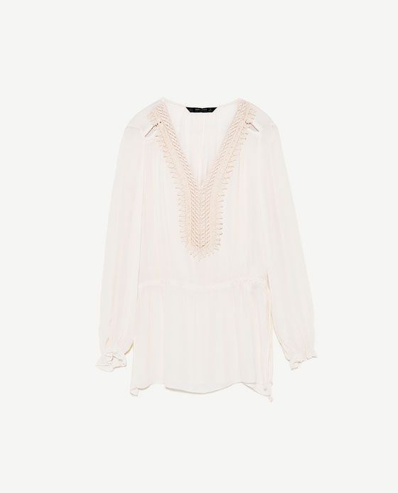 Image 8 of FLOWING BLOUSE WITH BIB FRONT from Zara