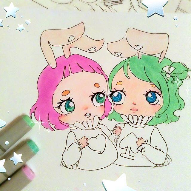 beginning to paint these babies. bunnies from Alice in Wonderland ✨✨٩(๑❛ᴗ❛๑)۶. #anime #chibi #instaanime #instaart #instadraw #instamanga #kawaii #cute #moe #manga #mangaart #mangastyle #copicart #copic #markers #copicmarkers #finecolour #aliceinwonderland #whiterabbit #draw #drawanime