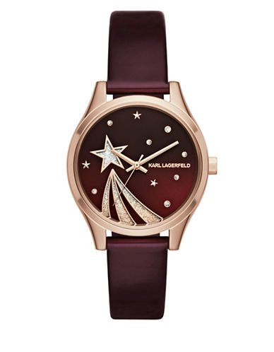 KARL LAGERFELD PARIS Janelle Rose Goldtone Shooting Star Merlot Leather Strap Watch