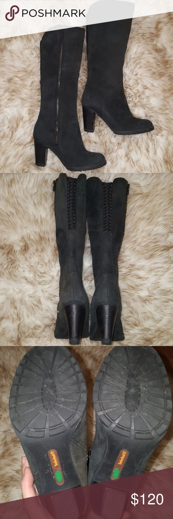 HOT Timberland Earthkeepers  Boots 😍😎💥 Timberland Earthkeepers Stratham Heights Tall Black Waterproof Boots. Comfortable pretty patterned lining shown in pic. Stylish crisscross patterned back. Only worn once so in like brand new condition! Sexy boots! Timberland Shoes Heeled Boots