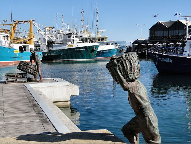 Fremantle Fishing Harbour: Statues. Perth, Western Australia