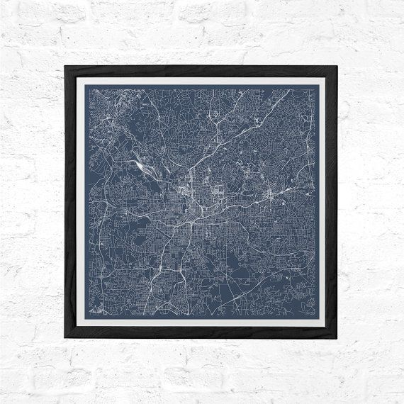 ATLANTA Georgia CITY MAP Poster Line Art City Map Road Map of Atlanta usa Minimalist City Map Wall Art Modern Design City Grid Poster Ribba