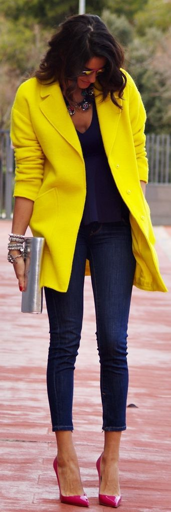 Yellow Coat, Navy skinnies and Fuschia Pumps by Farabian