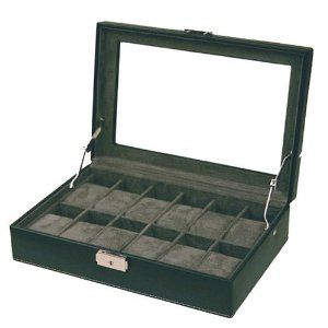 "Watch Box Storage Case Black Leather White Stitching 12 Watches Glass Window Tech Swiss. $59.95. Dimension of case: L 12 1/4"" x W 8 1/4"" x H 3 1/2. Italian Black Leather With Contrasting White Stitching. Top Beveled Inlaid Glass See-Thru Window with Charcoal Grey Interior. Watch Box For 12 Timepieces with Lock and Key. Compartment to Fit Mens and Ladies Watches (Fits Watch Cases Up To 45mm)"