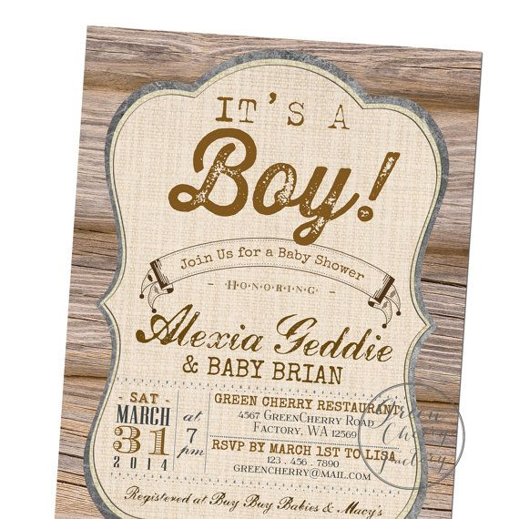 Rustic Baby Shower Invitation   Itu0027s A Boy   Wood Rustic Country Cottage    Co