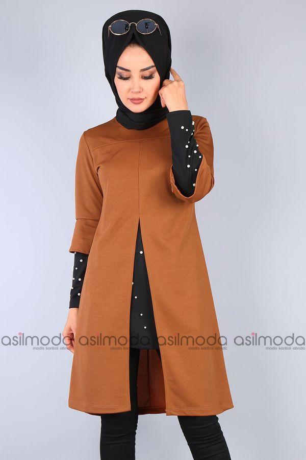 681239faad9e4 İçi Penye Görünümlü Tesettür Tunik - Taba | Tesettür Elbise modelleri |  Giyim, Elbise modelleri, Etek