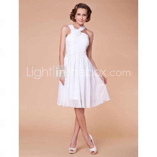 A-line Straps Knee-length Chiffon Mother of the Bride Dress //in chocolate or brown maybe for the October one