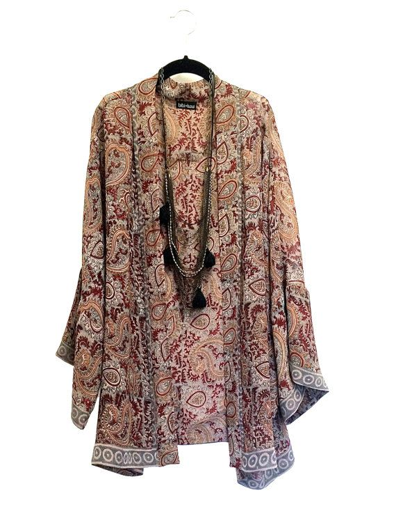 Silk Kimono jacket / cover up / bed jacket terracotta by Bibiluxe, £75.00
