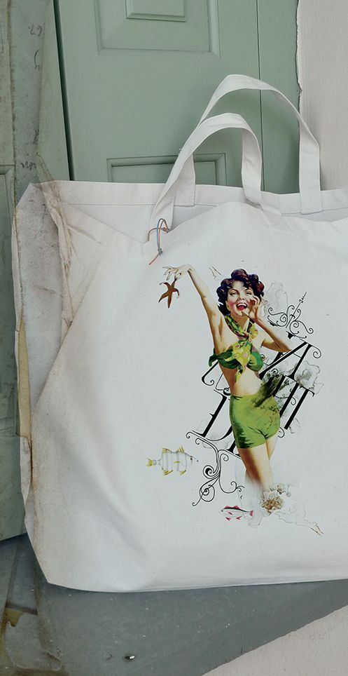 Cotton bag with pin up girl