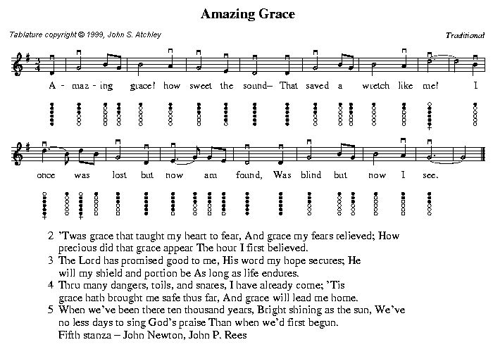 Amazing Grace Sheet Music for Tin Whistle | DJ Systems ...