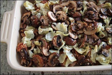 Chicken, Artichoke, Mushroom casserole. Yum!