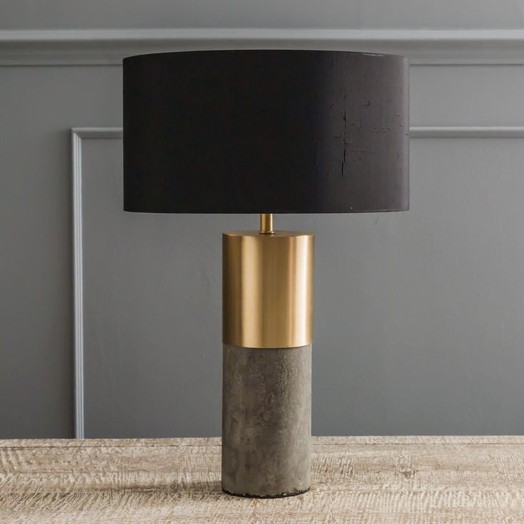 concrete u0026 brass lamp view all lighting lighting lighting u0026 mirrors - Lamp Shades For Table Lamps