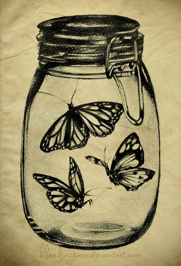 Butterflies in a mason Jar by *heyydaydreamer on deviantART