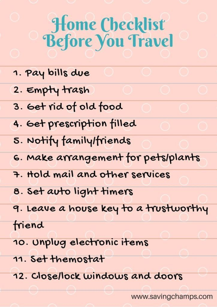Travel Checklists for Saving Time and Money on Travel ...