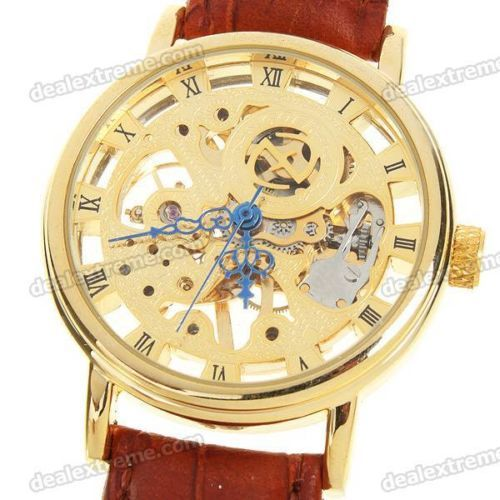 Stainless Steel Manual-Winding Semi-Automatic Mechanical Wristwatch